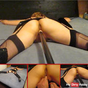 Fetish fuck with pole dildo - from behind