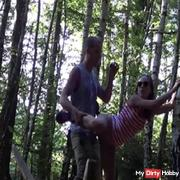 Secretly fucked in the woods!