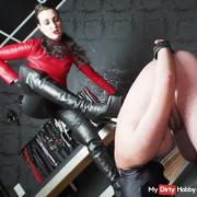 CBT and ballbusting with my Made in leather outfit!