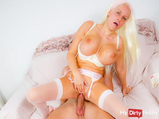 Jordan licking her pussy off my roughly fucked cock!