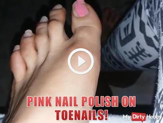 Pink nail polish on toenails!