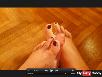 Footjob with dildo