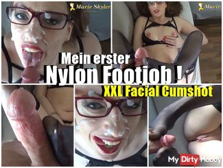 My first Nylon Footjob XXl Facial Cumshot