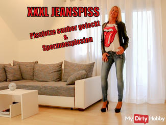 MEGA Jeanspiss! Pissfotze licked clean & hosed!