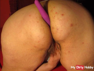 Purple dildo in my asshole and fingers in my hairy pussy