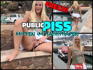 Simply naughty PUBLIC PISS in the middle of the yacht harbor