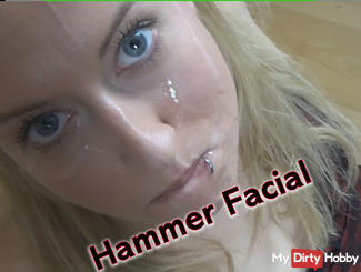 Horny facial with hot blonde