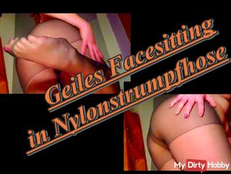 Horny Facesitting in nylon pantyhose