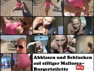 Blowing and swallowing on siffiger Mallorca burger toilet