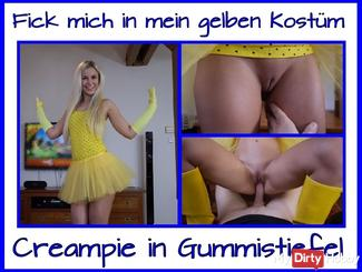Gumboots Creampie in Yellow Costume