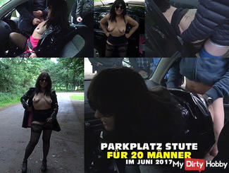 Parking gangbang with 20 men in June 2017