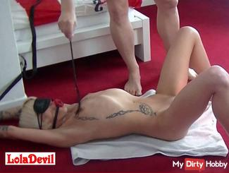 BDSM soft! Gag, tied, whip, insertions, wax, speculum, spermafick, so horny! 1 of 3