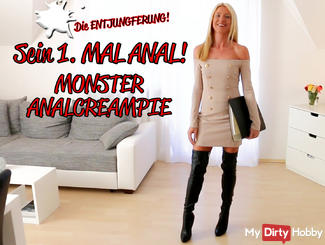 Assfucked-defloration with MONSTER Analcreampie!