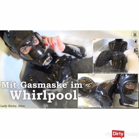 With gas mask in the whirlpool - In the whirlpool with my gasmask