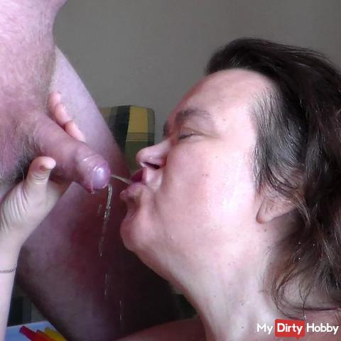 Pissing alot in her mouth closeup