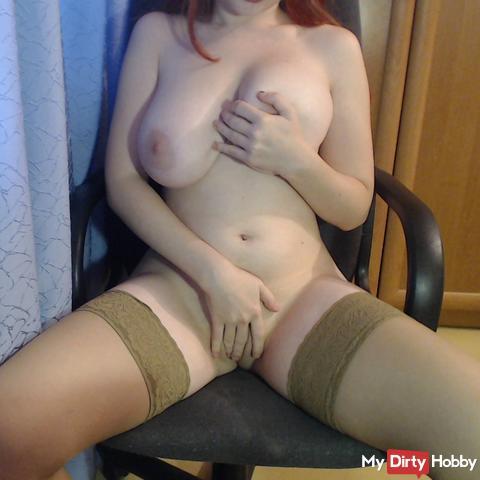 Masturbation in stockings