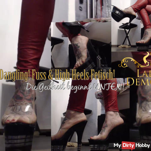 Dangling with plateau high heels! Geiler teaser for Foot & Heel Fetish | by Lady_Demona