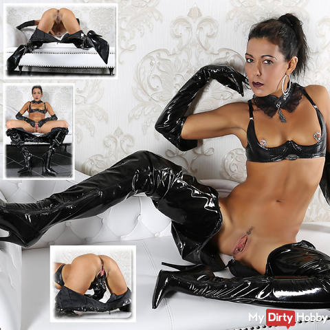 Your mistress in her new patent leather trousers fingered the pussy