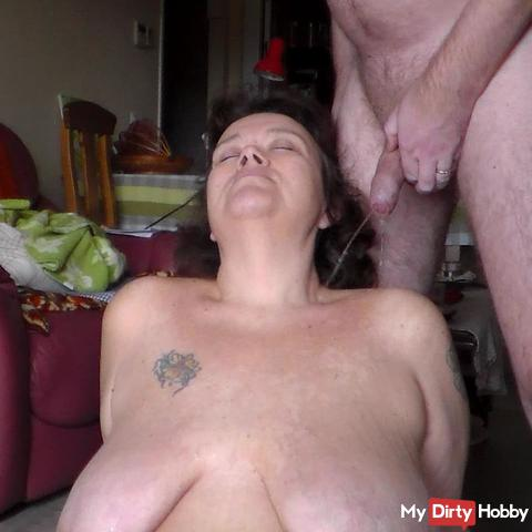 Pissing on her tits second