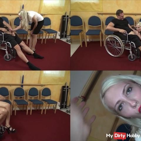 Doctor fucks with patients in a wheelchair u swallows his sperm. Mega horny.