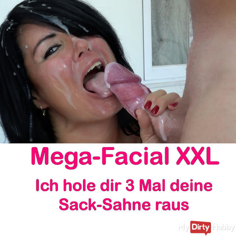 Mega Facial! 3-fold sperm shower in my fuck face!