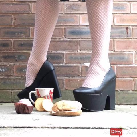 Crushing Slave's Lunch Under Mega Heels