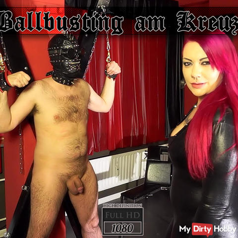 - Ballbusting on the cross -