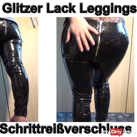 Horny glitter lacquer leggings with crotch zipper