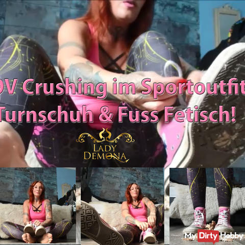 POV Crushing in sports outfit! Sneaker & Foot Fetish! | By Lady_Demona