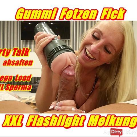 Rubber Snatch Fuck - XXL Flashlight milking