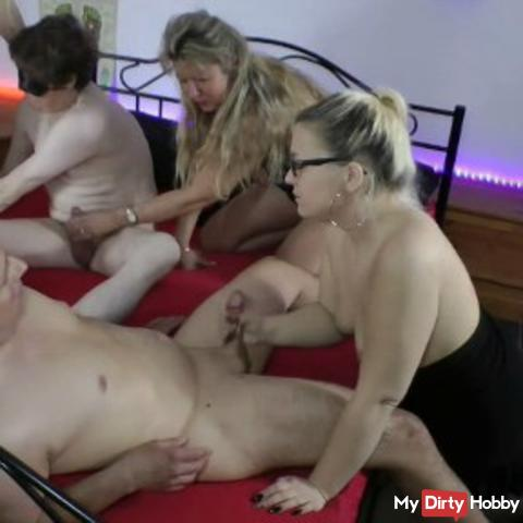 Horny orgy! When 2 students meet 3 girls