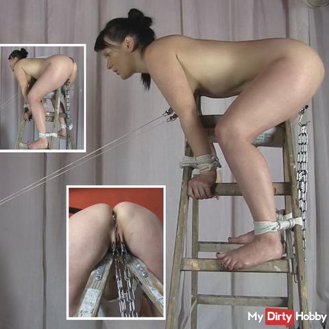 On the ladder - pussy blown up