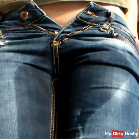Jeans Wetting and Dildo Riding