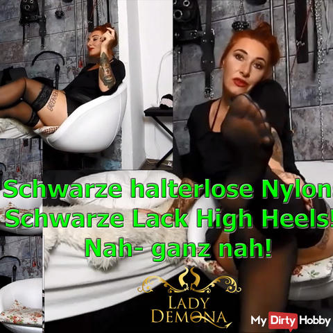 Black halterless nylons! Black patent high heels! Close-up! | by Lady_Demona