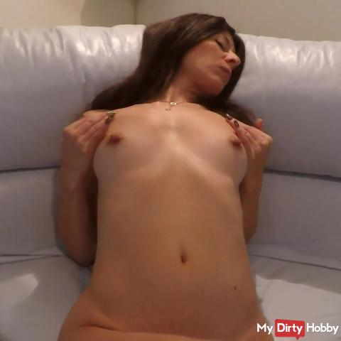 MILF`s Meaty Labia Play and Squirt Orgasm