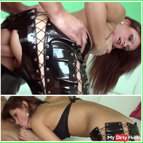 Scream. ANAL sex from behind in ripped leather pants