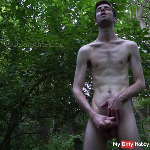 A cumshot session in the woods