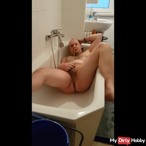 I pee in my face and shake my cock