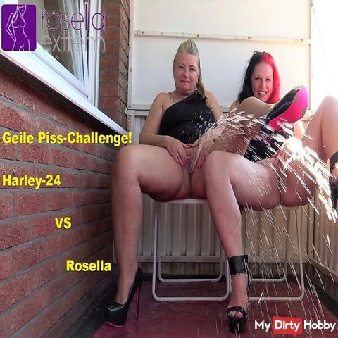 Horny Piss Challenge! Harley-24 VS Rosella