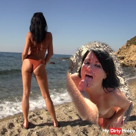 Public! On the beach brutally fucks, vollgespermt, in the mouth pissed AO