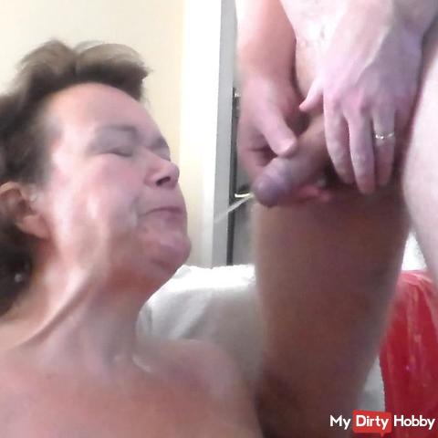 Pissing all over her face and mouth
