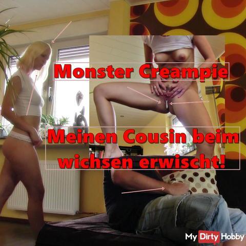 CREAMPIE RECORD! My cousin caught wanking ..