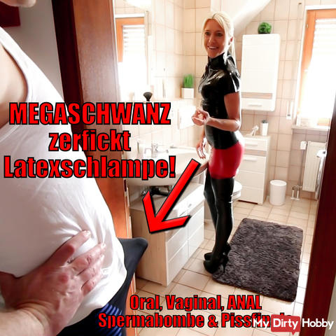 XXL Morgenlatte rips open latex asshole! Hosed and pissed!