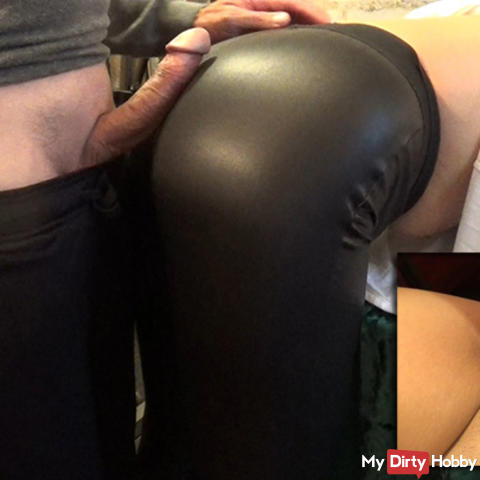 Black tight leather leggings - full version with cumshot