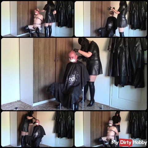 Leather hairdresser, part one: Shaving sissy