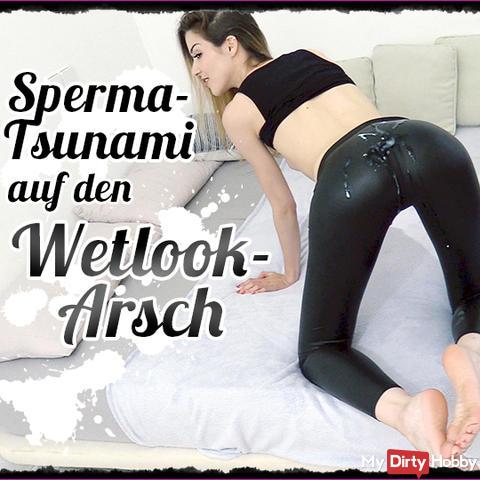 XXXL Cum Tsunami on my wetlook ass after the party night!