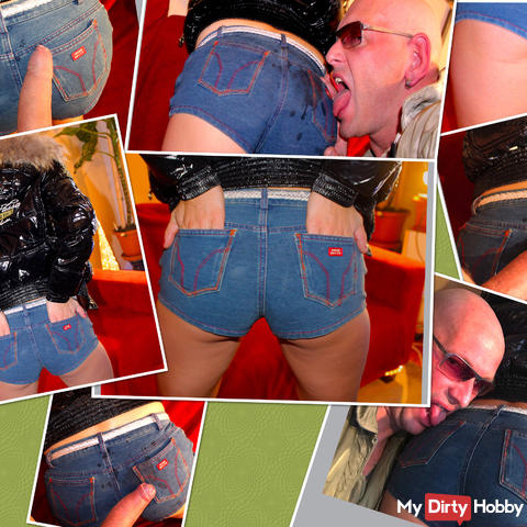 Very Hot Jeans Butt Job and High Hells and Bomberjacket -
