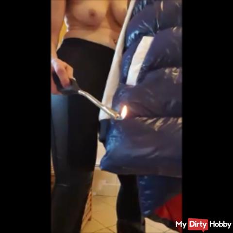Mega down jacket gets some fire