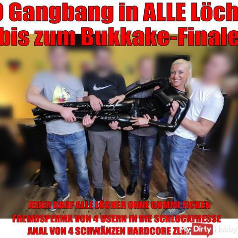 Bukkake Finale after hardcore 3hole gangbang!
