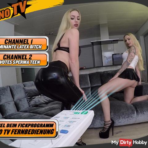 THE PORNO TV - SPECIAL REMOTE CONTROL | DEVOTES SPERM TEEN VS DOMINANT LATEX BITCH